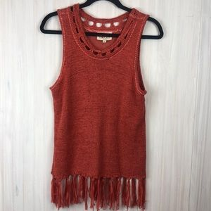 ANTHROPOLOGIE PEPIN KNIT FRINGE TOP